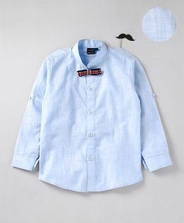 Robo Fry Full Sleeves Party Shirt With Bow - Blue