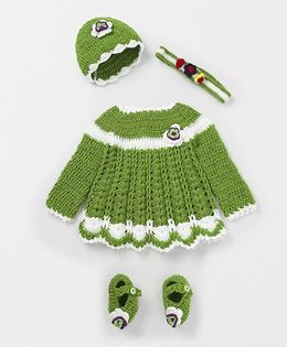 Mayra Knits Cute Frock With Cap & Booties Set - Green