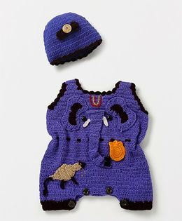 Mayra Knits Elephant Design Romper With Cap Set - Purple