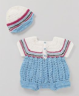Mayra Knits Smart Romper With Cap - White & Sky Blue