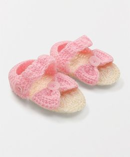 Mayra Knits Bow Deisgn Booties - Pink