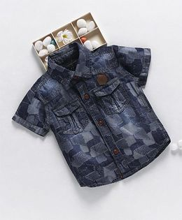 Little Kangaroos Half Sleeves Denim Shirt Abstract Design - Dark Blue