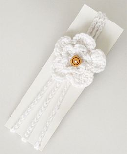 Love Crochet Art Handmade Flower Design Headband - White