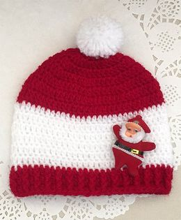 Buttercup From Knittingnani Santa Applique Cap - Red & White