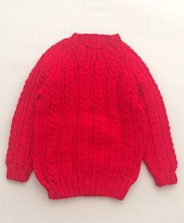 Buttercup From KnittingNani Cabled Sweater - Red