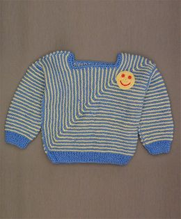 Buttercup From KnittingNani Smiley Design Sweater - Blue