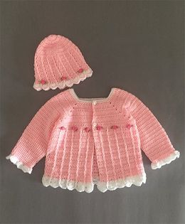 Buttercup From Knittingnani Rose Flower Applique Sweater With Cap - Pink & White