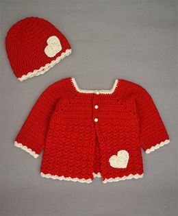 Buttercup From Knittingnani Heart Design Applique Sweater With Cap - Red