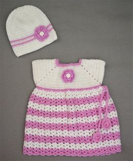 Buttercup From KnittingNani Flower Applique Sweater With Cap - White & Lavender
