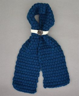 Buttercup From KnittingNani Bobble Scarf - Dark Blue