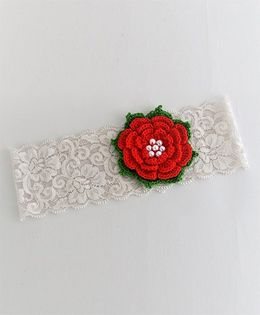 Bobbles & Scallops Lace With Crochet Flower Headband - Red