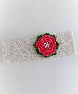 Bobbles & Scallops Lace With Crochet Flower Headband - Pink