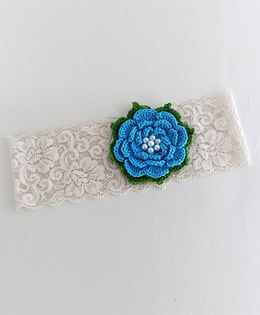 Bobbles & Scallops Lace With Crochet Flower Headband - Blue
