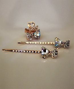 Shilpi Datta Som Pack of 3 Diamonte & Sequines Hair Pins - Gold