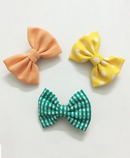 Knotty Ribbons Set of 3 Aligator Clips - Yellow Green Orange