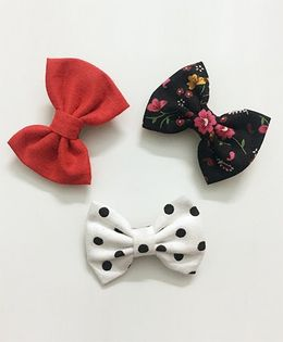 Knotty Ribbons Set of 3 Aligator Clips - Red White Black