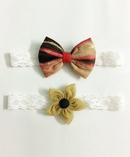 Knotty Ribbons Flower & Bow Hairband Set of 2 - Red & Golden