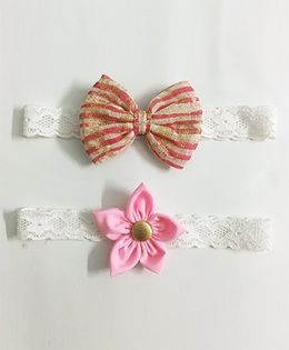 Knotty Ribbons Flower & Bow Hairband Set of 2 - Light Pink