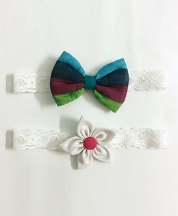 Knotty Ribbons Flower & Bow Hairband Set of 2 - Multicolor & White