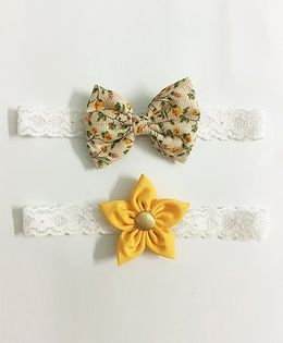 Knotty Ribbons Flower & Bow Hairband Set of 2 - Floral & Yellow
