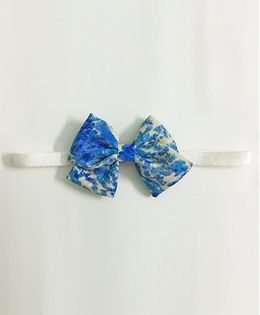 Knotty Ribbons Water Colour School Print Bow - Blue