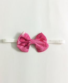 Knotty Ribbons Water Colour Print School Headband  - Pink