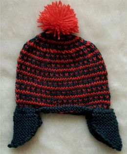 The Original Knit Earflap Bright & Colorful Cap - Gray & Orange