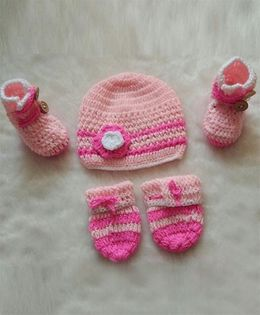 The Original Knit Combo Pack Cap Mittens & Booties Set - Pink