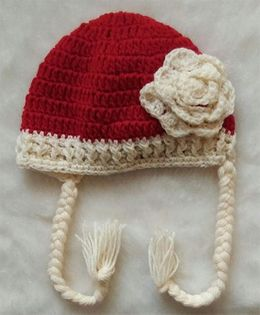 The Original Knit Little Flower Design Cap - Red & Off White