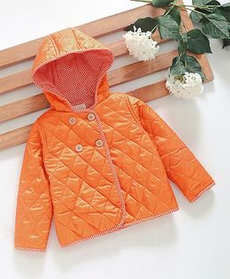 Hugsntugs Jacket With Wooden Buttons - Orange