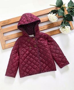 Hugsntugs Jacket With Wooden Buttons - Burgundy