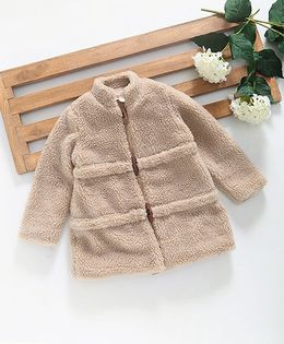 Hugsntugs Sherpa Jacket With Wooden Buttons - Beige