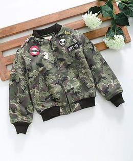 Hugsntugs Camouflage Jacket With Funky Patch Work - Military Green