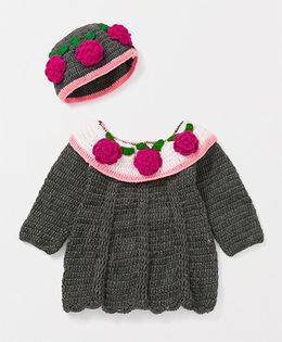 Mayra Knits Cute Sweater - Grey & Pink