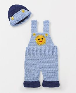 Mayra Knits Cute Dungaree And Cap Set - Sky Blue