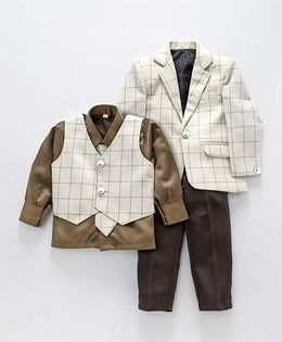 Rikidoos Grid Coat Suit Set With Tie - Coffee Brown