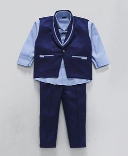 Rikidoos Full Sleeves Shirt With Waist Coat Bow & Pants - Blue