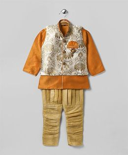 Rikidoos Full Sleeves Kurta With Ethnic Jacket & Jodhpuri Pants - Orange
