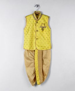 Rikidoos Buttoned Ethnic Kurta With Dhoti - Yellow