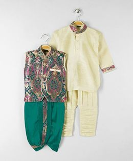 Rikidoos Kurta With Ethnic Jacket Dhoti & Jodhpuri Pants - Green