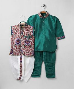 Rikidoos Full Sleeves Kurta With Ethnic Jacket Dhoti & Jodhpuri Pants - Green