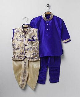 Rikidoos Ethnic Kurta With Waist Coat Dhoti & Jodhpuri Pants - Blue