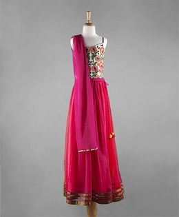 Twisha Lehanga With Embroidered Choli & Dupatta - Fuschia