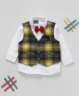 Rikidoos Full Sleeves Shirt With Checkered Waist Coat & Bow - White & Yellow