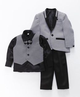 Rikidoos Small Check Party Wear Set - Black