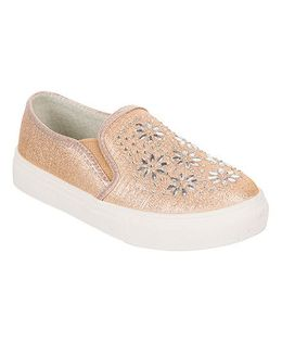 One Friday Party Wear Shoes With Embroidery - Champane