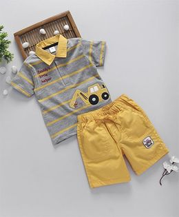 ToffyHouse Half Sleeves T-Shirt With Shorts Vehicle Patch - Yellow Grey