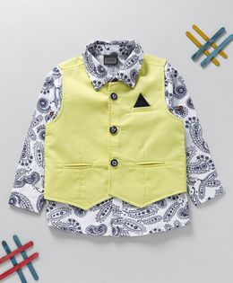 Rikidoos Printed Shirt With Solid Waist Coat - White & Yellow