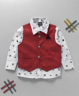 Rikidoos Printed Shirt With Solid Waist Coat - White & Red