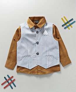 Rikidoos Solid Shirt With Broad Stripes Waist Coat - Brown & Blue